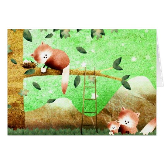 Red Panda mountain - greeting card