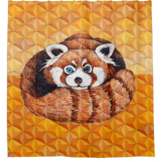 Red panda on orange Cubism Geomeric