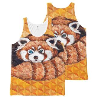 Red panda on orange Cubism Geomeric All-Over-Print Tank Top