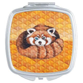 Red panda on orange Cubism Geomeric Compact Mirror