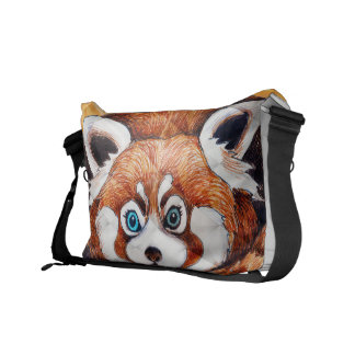 Red panda on orange Cubism Geomeric Courier Bag