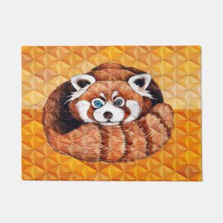 Red panda on orange Cubism Geomeric Doormat