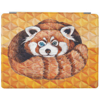 Red panda on orange Cubism Geomeric iPad Cover