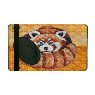 Red panda on orange Cubism Geomeric iPad Folio Case