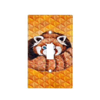 Red panda on orange Cubism Geomeric Light Switch Cover