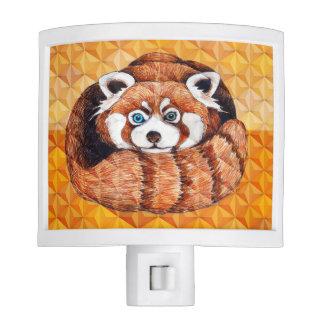 Red panda on orange Cubism Geomeric Nite Lite