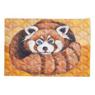 Red panda on orange Cubism Geomeric Pillowcase