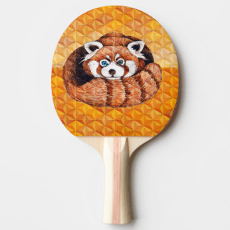 Red panda on orange Cubism Geomeric Ping Pong Paddle