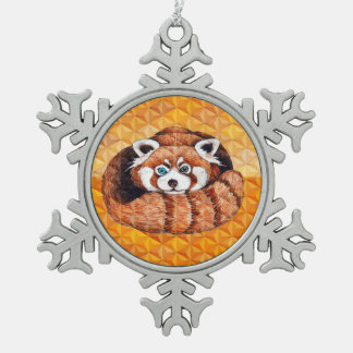 Red panda on orange Cubism Geomeric Snowflake Pewter Christmas Ornament