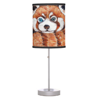 Red panda on orange Cubism Geomeric Table Lamp