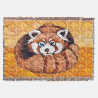Red panda on orange Cubism Geomeric Throw Blanket