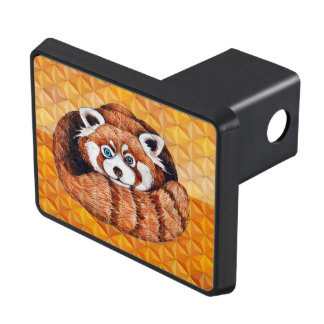 Red panda on orange Cubism Geomeric Trailer Hitch Cover