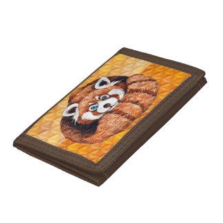 Red panda on orange Cubism Geomeric Tri-fold Wallet