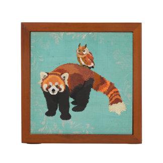 Red Panda & Owl Desk Organizer