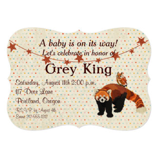 "Red Panda & Owl Polkadot Baby Invitation 5"" X 7"" Invitation Card"