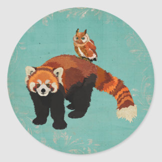 Red Panda & Owl Sticker