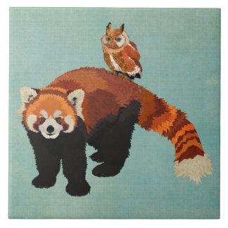 Red Panda & Owl Tile