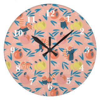 'Red Panda' Pink Apple Wall Clock
