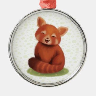 Red Panda Silver-Colored Round Ornament