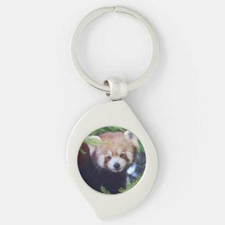 Red Panda Silver-Colored Swirl Keychain