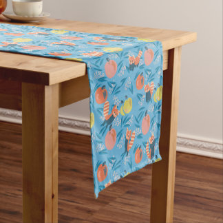 'Red Panda' Sky Blue Apple Table Runner