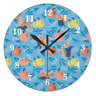 'Red Panda' Sky Blue Apple Wall Clock