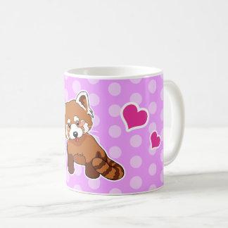 Red Panda With Hearts And Pink Polka Dots Coffee Mug