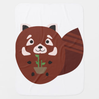 Red Panda with his bamboo plant Baby Blanket