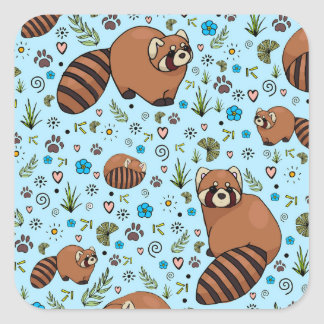 Red Pandas in Blue Square Sticker