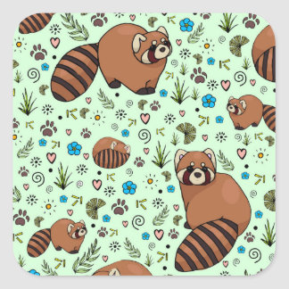 Red Pandas in Green Square Sticker