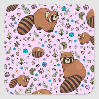 Red Pandas in Pink Square Sticker