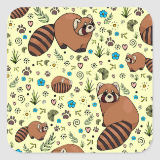 Red Pandas in Yellow Square Sticker