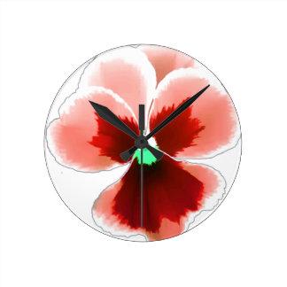 Red Pansy 201711b Round Clock