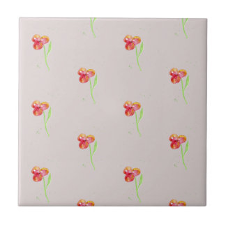 Red Pansy Minimal Watercolor Painting Tile
