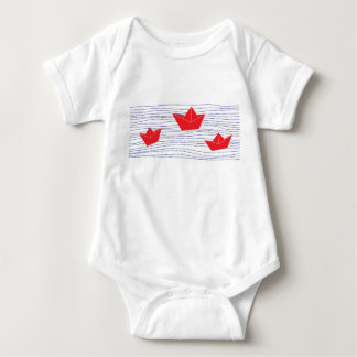 Red Paper Boats baby jumpsuit Tshirt