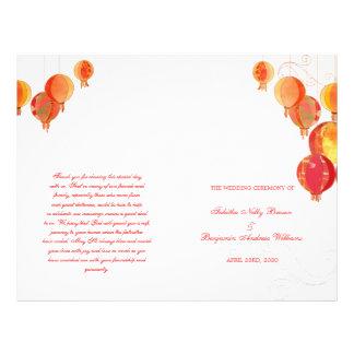 Red Paper Lanterns White Wedding Bi Fold Program