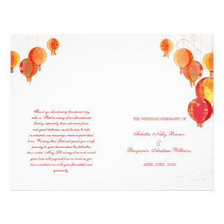 Red Paper Lanterns White Wedding Bi Fold Program Full Color Flyer