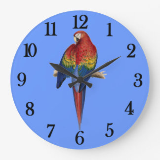 Red parrot Blue Background Large Clock
