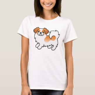 Red Parti-color Tibetan Spaniel Cartoon Dog T-Shirt