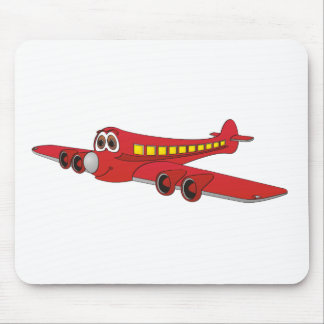 Red Passenger Jet Cartoon Mouse Pad