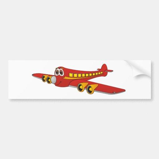 Red Passenger Jet O Cartoon Bumper Stickers
