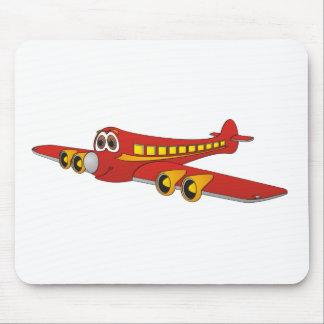 Red Passenger Jet O Cartoon Mouse Pad