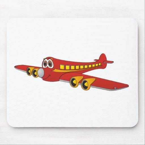 Red Passenger Jet O Cartoon Mousepad