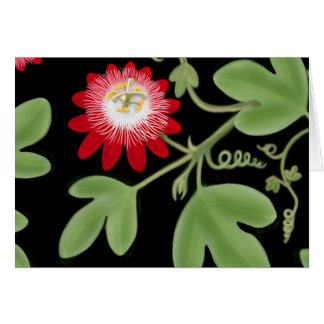 Red Passion Flower Vine Card
