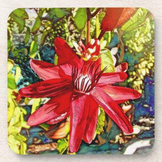 Red Passionflower Flower Valentine Coaster