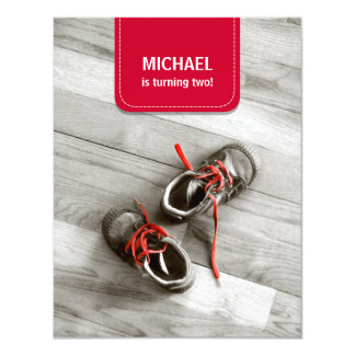 Red Patch Kids Shoes Birthday Party invitation