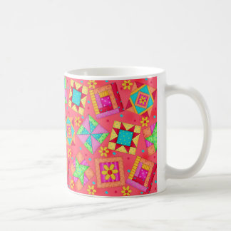 Red Patchwork Quilt Design Mug