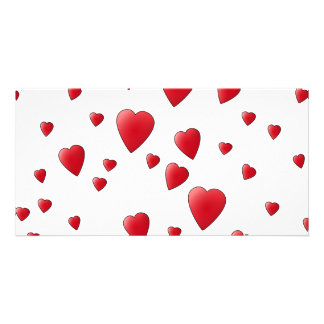 Red Pattern of Love Hearts. Picture Card