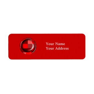 Red Pattern Return Address Label
