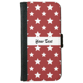 Red pattern with stars iPhone 6 wallet case